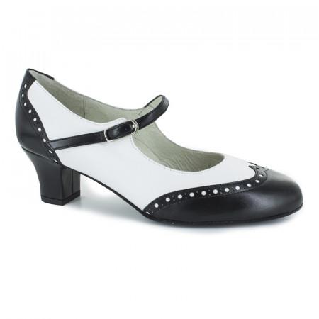 Emma Werner Kern - Chaussures de boogie, swing en cuir noir et blanc