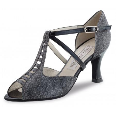 Holly Werner Kern - Chaussures de danse en brocart noir et argent et cuir noir vernis