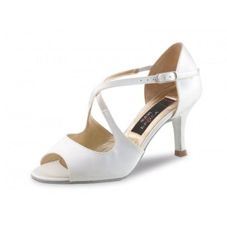 Mable Nueva Epoca - Chaussures de Mariage Ouverte en Satin Blanc