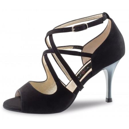 Riana Nueva Epoca - Chaussures de danse de salsa à doubles lanières nubuck noir et talon laqué