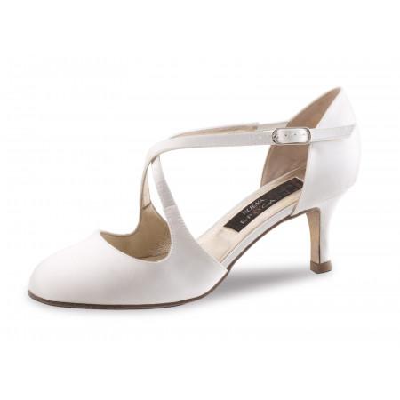 India LS Nueva Epoca - Chaussures de Mariage Fermée en Satin Blanc et Cuir Lisse