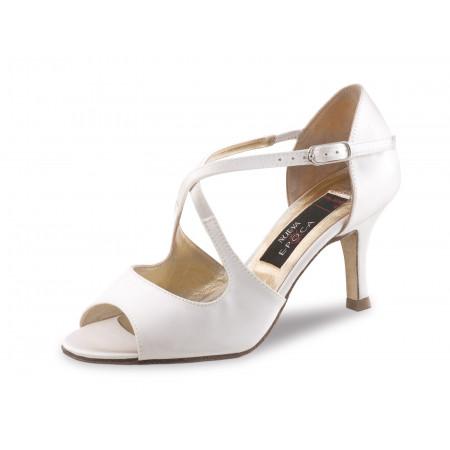 Mable LS Nueva Epoca - Chaussures de Mariage Ouverte en Satin Blanc et Cuir Lisse