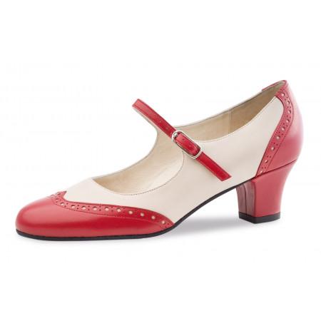 Emma Werner Kern - Chaussures de boogie, swing en cuir rouge et crême