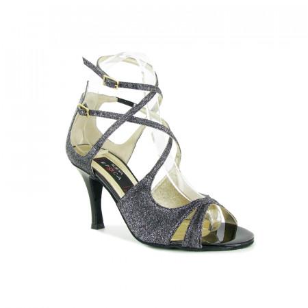 Amalia Brocard Nueva Epoca - Chaussure de salsa avec double lanières en tissu imprimé pailletté