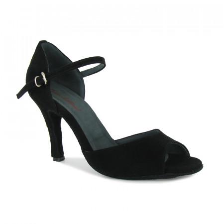 Cate - Rosso Latino - Chaussure de danse en cuir nubuck noir clouté argent