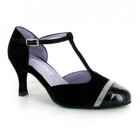 NABEL Merlet - Chaussures de danse de salon fermée en cuir nubuck et verni noir strass