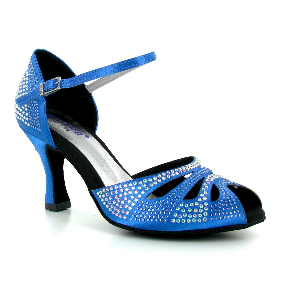 Chaussures de danse ouvertes en satin bleu et strass - Lidmag