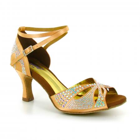 Chaussures de danse ouvertes en satin flesh et strass - Lidmag