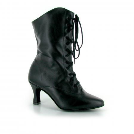 Bottines de danse de cabaret en cuir noir et lacets - Lidmag