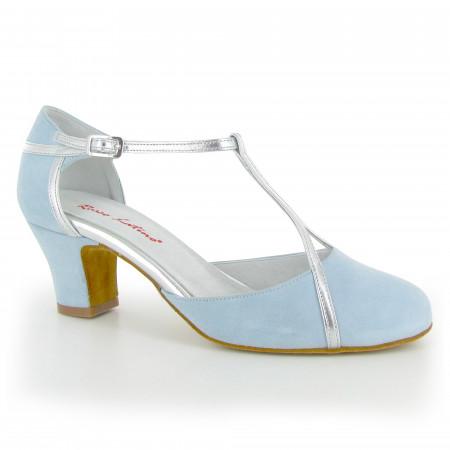 Patti - Chaussure de danse fermée à bride salomé en cuir argenté et nubuck bleu ciel - Rosso Latino