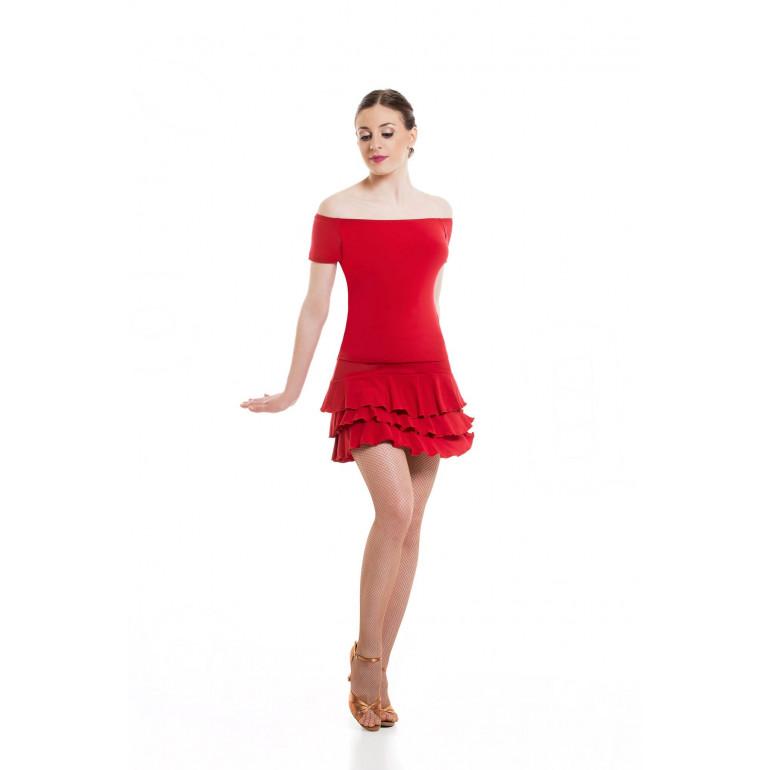 Jupe de danse courte avec volants en 3 paliers différents coloris - SHEDDO