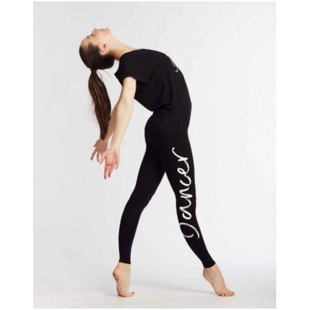 """Legging de danse noir avec imprimé """"Dancer"""" - Adalie I Am - TempsDanse"""