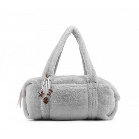 Petit sac polochon de danse en fourrure synthétique et coloris gris clair - Repetto