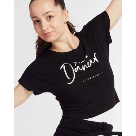 Crop top noir à la coupe floue et logo ' I Am a Dancer ' pour adulte - Agile I Am - TempsDanse