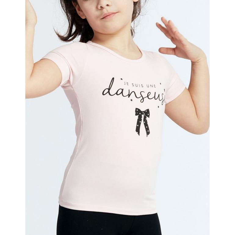 T-shirt en coloris rose pour petite fille à manches courtes et logo ' Je suis une danseuse ' - Anais Jr Nœud - TempsDanse