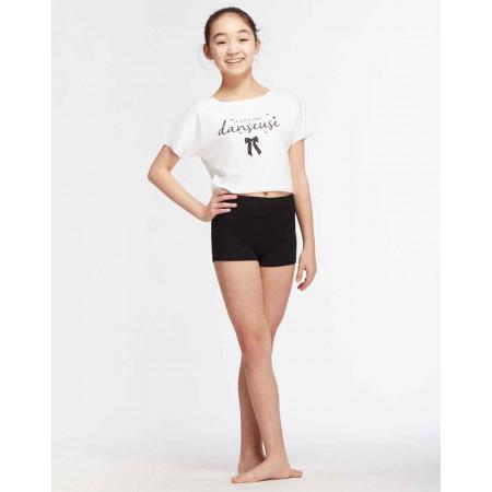 Crop top blanc à la coupe floue et logo ' Je suis une Danseuse ' pour enfant - Agile Jr Noeud  - TempsDanse