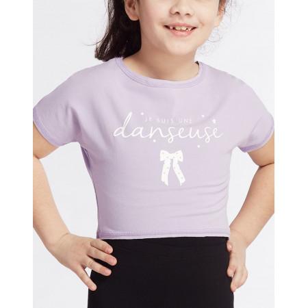 Crop top lavande à la coupe floue et logo ' Je suis une Danseuse ' pour enfant - Agile Jr Noeud  - TempsDanse