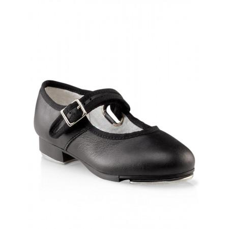 Mary Jane - Chaussures de claquette pour fille en cuir noir et petit noeud - Capezio