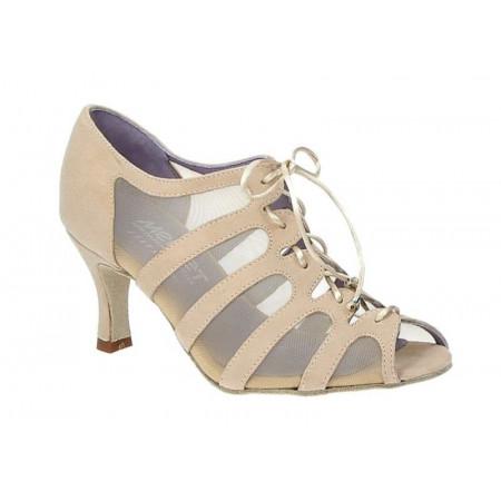 Sya - Chaussures de danse en daim beige et résille - Merlet