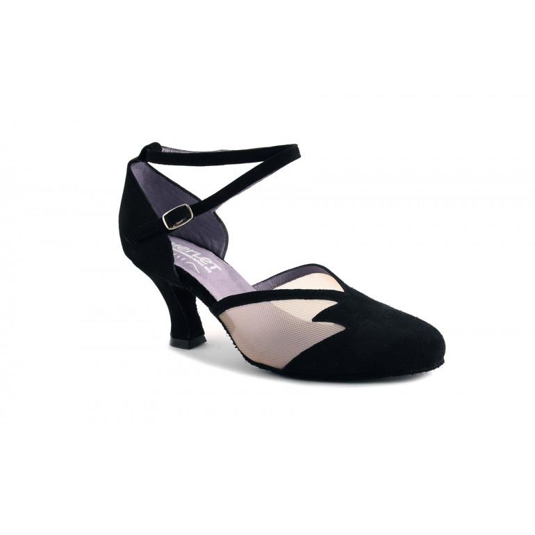 Cholet - Chaussures de danse fermée en nubuck noir et résille - Merlet