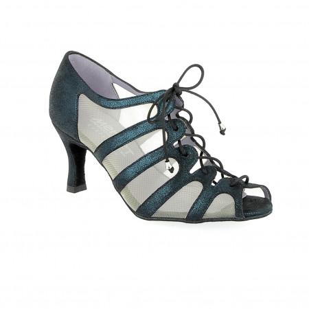 Sya - Chaussures de danse en résille et cuir argenté1 - Merlet