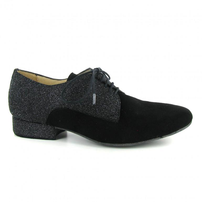 Zephir - Chaussures de danse de salon en nubuck noir et cuir pailleté gris argenté - Merlet