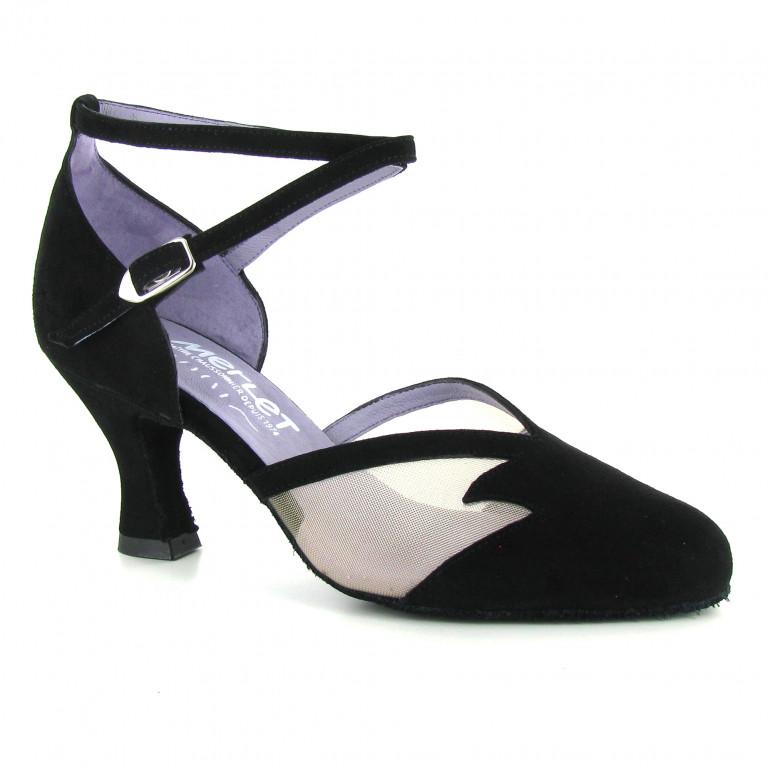 CHOLET Merlet - Chaussure de danse de salon en cuir velour et résille