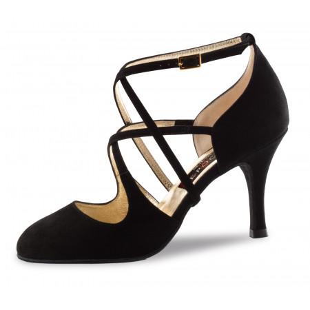 Jaida Nueva Epoca - Chaussure de danse fermée en daim noir et doubles brides croisées