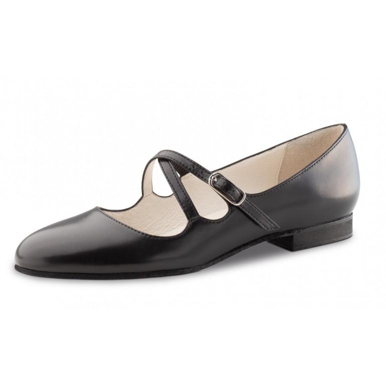 Mischa Werner Kern - Chaussure de danse en cuir noir et brides croisées