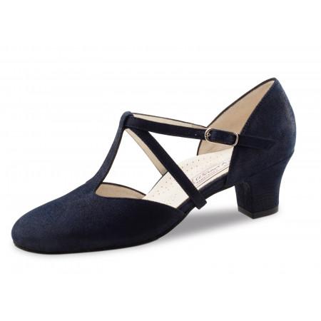 Jessie Werner Kern - Chaussure de danse fermée à bride salomé en daim bleu