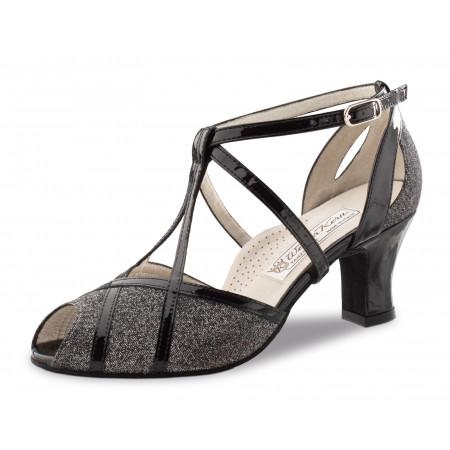 Ginny Werner Kern - Chaussure de danse de salon en tissu pailleté et cuir verni noir