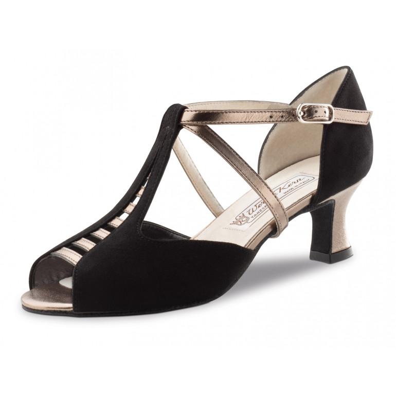Holly Werner Kern - Chaussure de danse en nubuck noir et cuir antik
