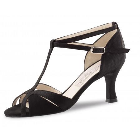 Ida Werner Kern - Chaussure de danse ouverte en daim noir et cuir imprimé