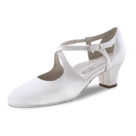 Gala Werner Kern - Chaussure de mariage en satin blanc et doubles brides croisées