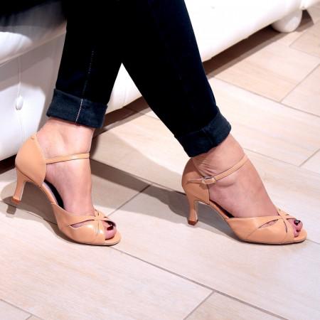 Saphir - Chaussure de danse de salon en cuir et coloris peau - Merlet