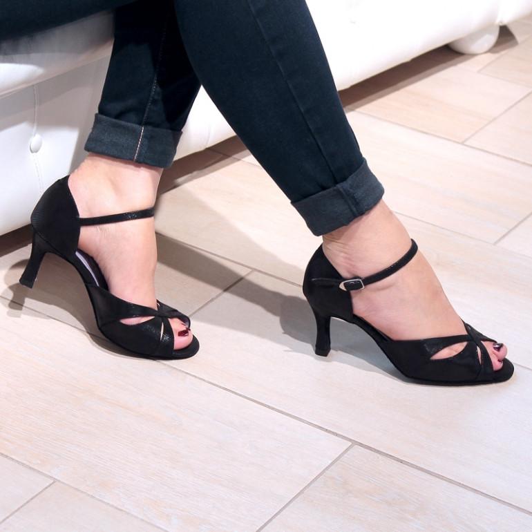 Saphir - Chaussures de danse en cuir imprimé python - Merlet
