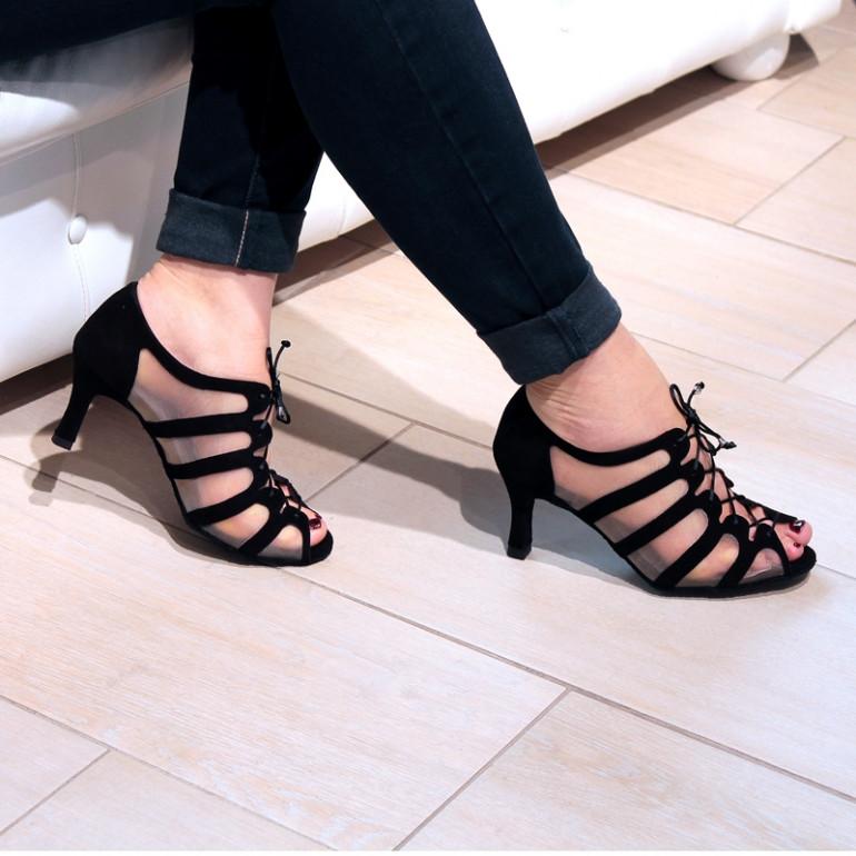 Sya - Chaussures de danse noir en daim et résille - Merlet