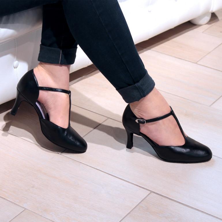 Chaussures de danse en cuir noir Nina - Merlet
