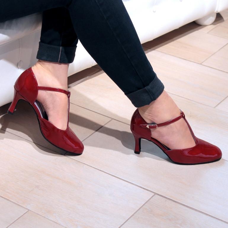 Chaussures de danse en cuir rouge verni Nina - Merlet