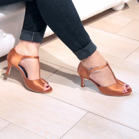 Salama - Chaussures de danse à bout ouvert en satin dark tan bride salomé