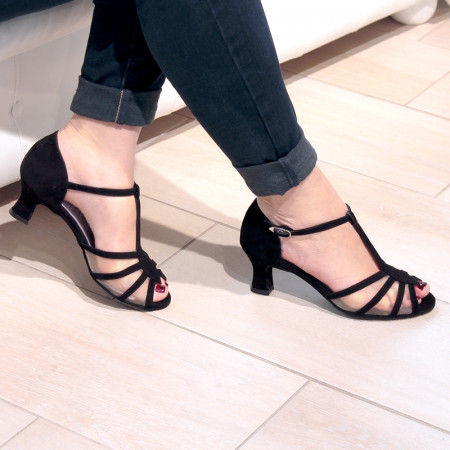 Karmina - Chaussures de danse de salon ouverte en daim et résille noir à bride salomé - Merlet