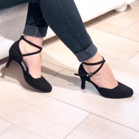 Niagara - Chaussures de danse en daim noir fermée à double bride croisée - Merlet