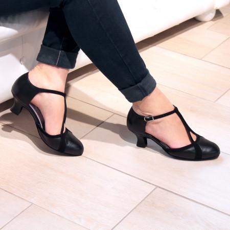 Betty - Chaussures de danse fermée à bride salomé en cuir et nubuck noir - Merlet