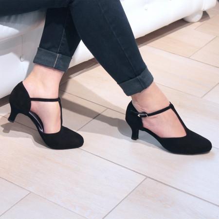 Adelina - Chaussures de danse fermée à bride salomé en nubuck noir - Merlet
