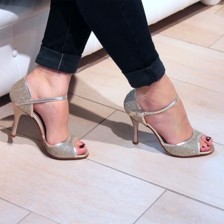BL02 - Rosso Latino - Chaussure de danse en cuir platine et paillette
