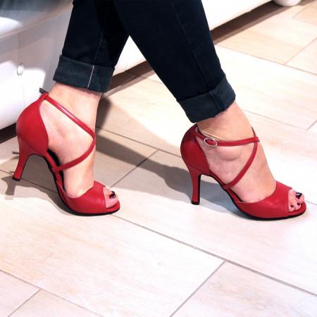 BL05 - Rosso Latino - Chaussure de danse en cuir rouge