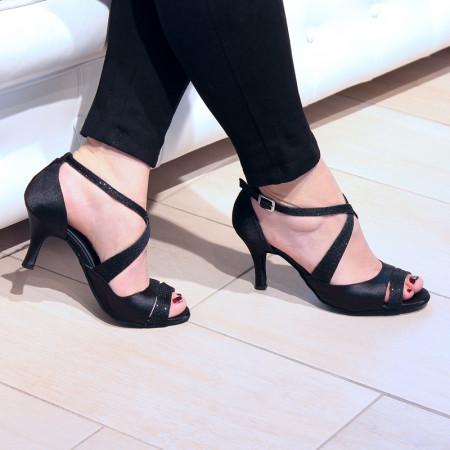 BL04 - Rosso Latino - Chaussure de danse en satin noir