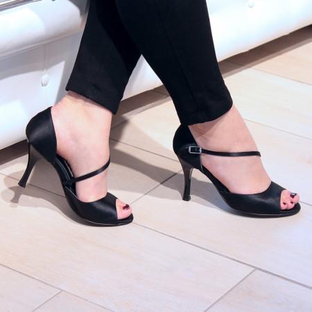 BL08 - Rosso Latino - Chaussure de danse en satin noir
