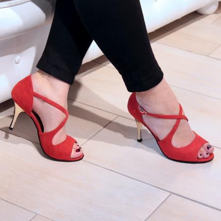 Flavia Nueva Epoca - Chaussures de salsa/tango en nubuck rouge et talon laqué doré