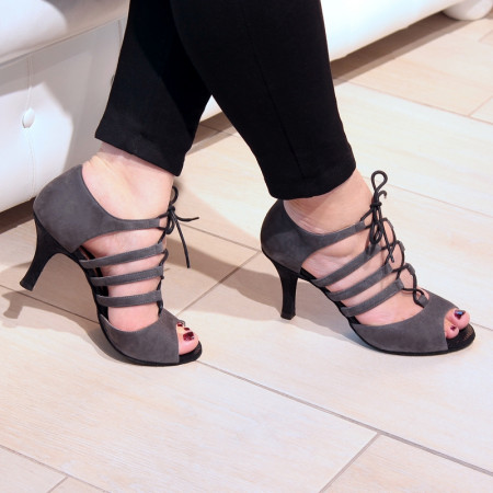 Lydia Nueva Epoca - Chaussures de danse montante à lanières et à lacets en nubuck gris et imprimé noir
